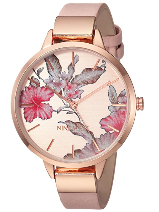 Floral Dial Strap Watch